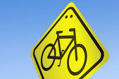 Bike Shape on road sign — Stock Photo
