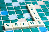 Price and Value word made by letter pieces — Stock Photo