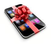 Smartphone gift, isolated on white background — Stock Photo