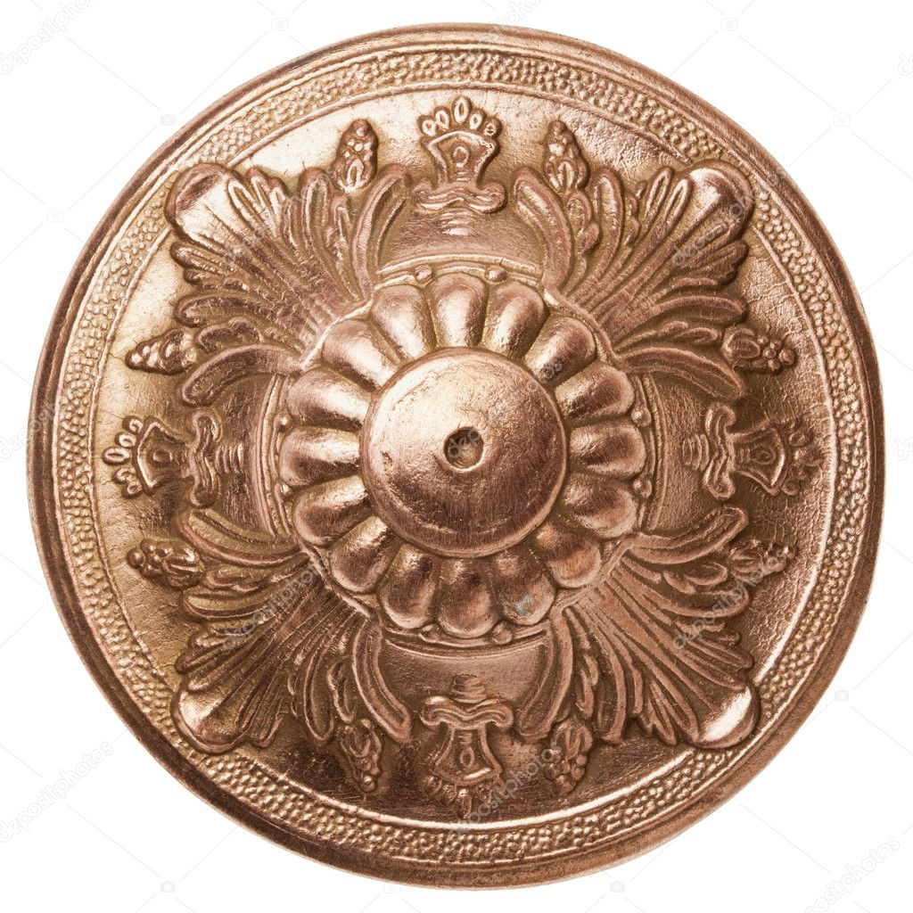 Vintage metal ornamental detail, isolated.  Stock Photo #9849380