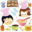 Stock Vector: Two girls baking chocolate chip cookies