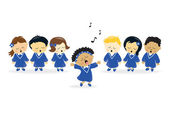 Choir singing — Stock Vector