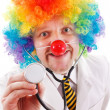 Funny clown doctor with stethoscope — Stock Photo #10653281