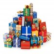 Big stack of colorful Christmas presents — Stock Photo