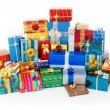 Stack of colorful Christmas presents — Stock Photo