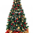 Green decorated Christmas tree and presents — Foto de Stock