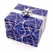 Blue gift on white — Stock Photo