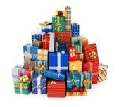 Big stack of colorful Christmas presents — Stok fotoğraf