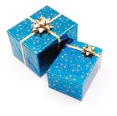 Blue gifts on white — Stock Photo