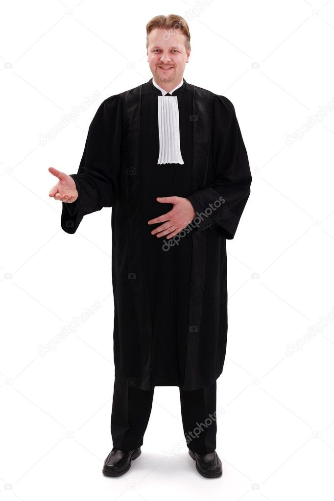 Happy confident lawyer standing and gesturing with right hand  Stock Photo #9014359
