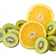 Stock Photo: Orange and kiwi slices