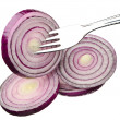 Stock Photo: Red onion on fork