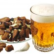 Rusks and beer — Stock Photo