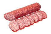 Salami with slices — Stock Photo