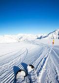 Fresh made ski slope — Stock Photo