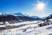 View down to typical Alpine ski resort — Stockfoto