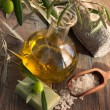 Natural spa setting with olive oil. — Stock Photo #10558460