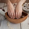 Natural spa manicure  setting — Stock Photo