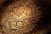 木製の背景上のテキストが大好き — ストック写真