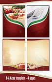A4 4 pages Menu template - Italian restaurant — Stock Photo