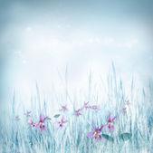 Jarní květinové pozadí s fialovými květy — Stock fotografie