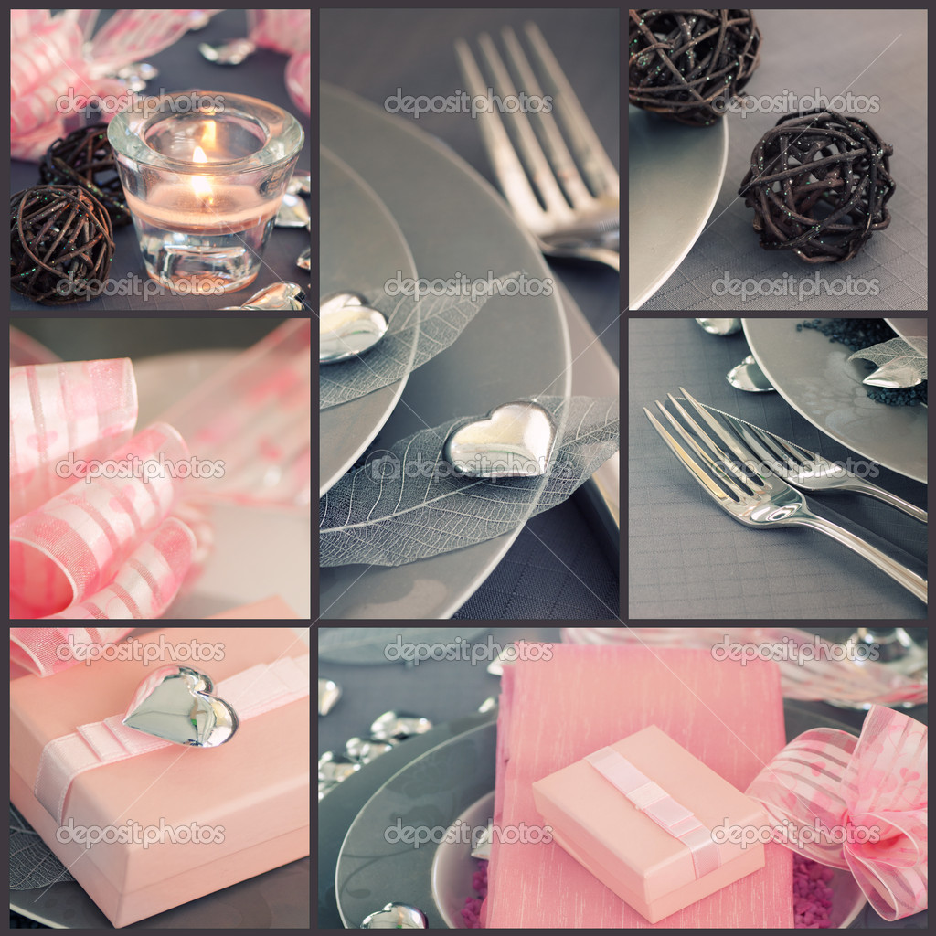 Restaurant series. Collage of fancy Valentine's day dinner.  Holiday luxury table setting with beautiful  pink and silver ornaments — Stock Photo #8475562