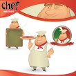 Vector chef - Italian restaurant mascot. - Stock Vector