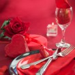 Valentine day romantic table setting — Stock Photo