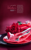 Valentine day romantic table setting — Stok fotoğraf