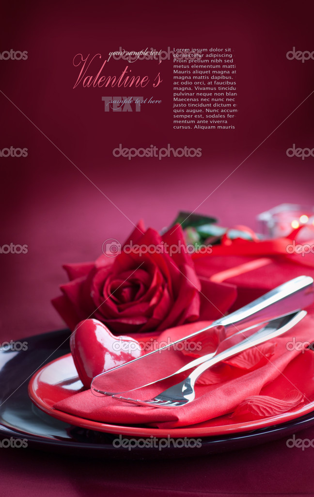 Restaurant series. Valentine' day   dinner with table setting in red and holiday elegant  heart ornaments — Stok fotoğraf #8726251