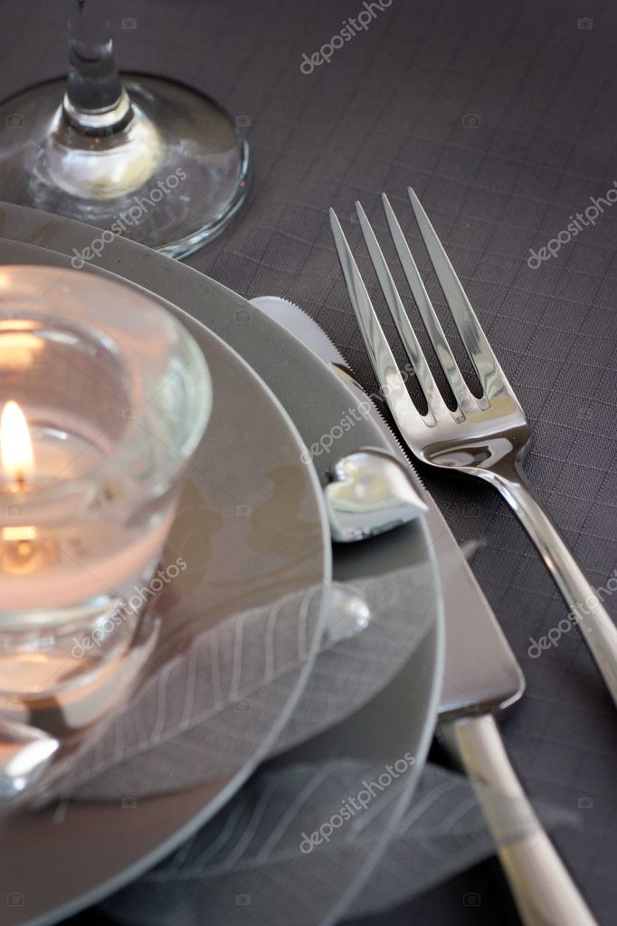 Restaurant series. Valentine' day   dinner with table setting in pink and gray  and holiday elegant  heart ornaments — Stock Photo #8727407