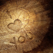 Love text on  wooden background — Foto Stock