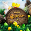 Easter hunt flyer or poster. — Stock Photo