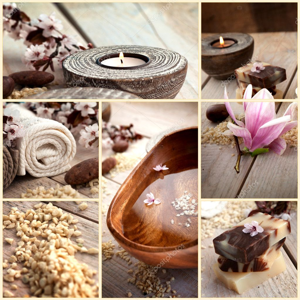 Collage of spa products. Treatment water, natural soaps, candles, bath salt, towels in beige brown setting. — Stock Photo #9874136