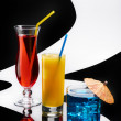 Three cocktails on conceptual background — Stock Photo