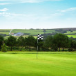 Golf green with a checkered flag - countryside in background - Стоковая фотография