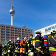 Firefighters in a huge demo competition, Berlin - Stock Photo