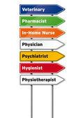 Medizinische berufe-zeichen — Stockfoto