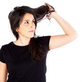 Young woman with hair problems — Stock Photo