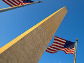 USA Flags in the Washington Monument — Stock Photo