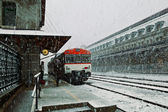 Snowing in Canfranc Railway Station — Stock Photo