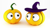Funny halloween pumpkins — Stock Photo