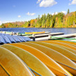 Canoe rental on autumn lake - Stock Photo
