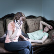 Concerned woman with sick mother — Stock Photo
