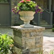 Stone planter in front of house — Stock Photo