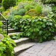 Natural stone garden stairs - Stock Photo