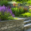 Garden with stone landscaping - Stock Photo