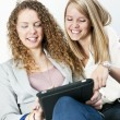 Two women using tablet computer - Stock Photo
