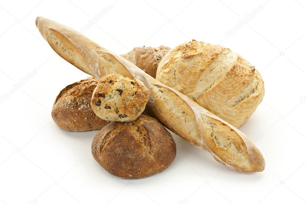 Assorted kinds of bread on white background — Stock Photo #8943766