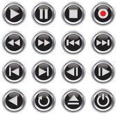 Multimedia control icon/button set — Stock Vector